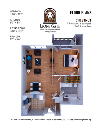 Floorplan of Lions Gate, Assisted Living, Nursing Home, Independent Living, CCRC, Voorhees, NJ 4