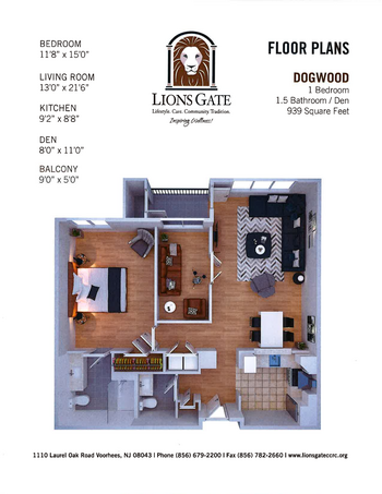 Floorplan of Lions Gate, Assisted Living, Nursing Home, Independent Living, CCRC, Voorhees, NJ 5