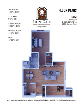Floorplan of Lions Gate, Assisted Living, Nursing Home, Independent Living, CCRC, Voorhees, NJ 6