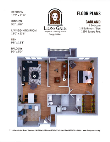 Floorplan of Lions Gate, Assisted Living, Nursing Home, Independent Living, CCRC, Voorhees, NJ 8