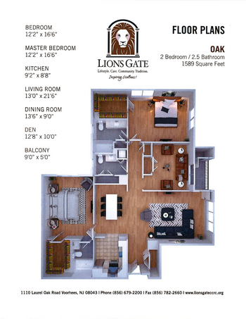 Floorplan of Lions Gate, Assisted Living, Nursing Home, Independent Living, CCRC, Voorhees, NJ 12