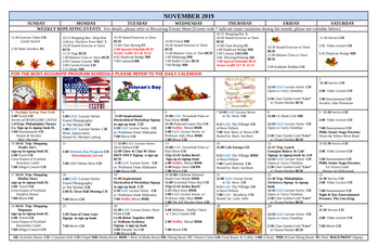 Activity Calendar of Lions Gate, Assisted Living, Nursing Home, Independent Living, CCRC, Voorhees, NJ 1