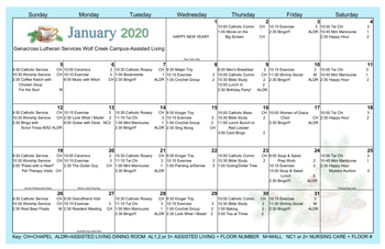 Activity Calendar of Genacross Lutheran Services Wolf Creek, Assisted Living, Nursing Home, Independent Living, CCRC, Holland, OH 1