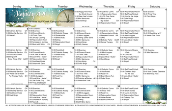 Activity Calendar of Genacross Lutheran Services Wolf Creek, Assisted Living, Nursing Home, Independent Living, CCRC, Holland, OH 2