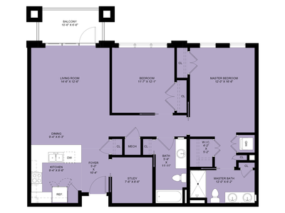 Harford: 2 Bedrooms, 2 Baths, Study, 1,236 sq.ft.