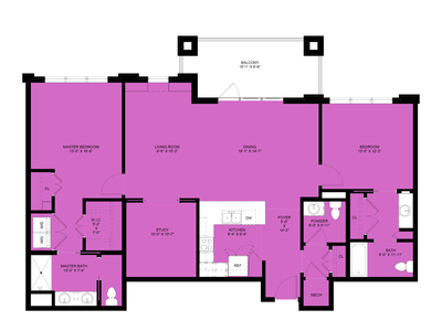 Hickory: 2 Bedrooms, 2.5 Baths, Study, 1,568 sq.ft.